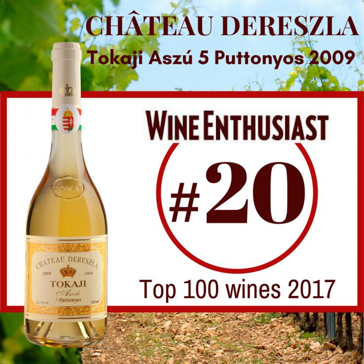 Tokaji Aszú 5 Puttonyos 2009 – Wine Enthusiast Rating #20